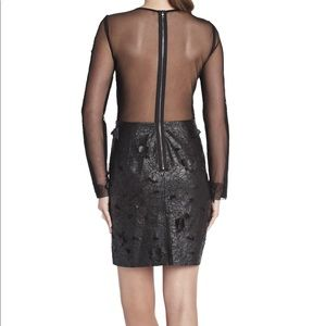 BCBG JILLEA DRESS Black Size 2 Faux Leather Mesh